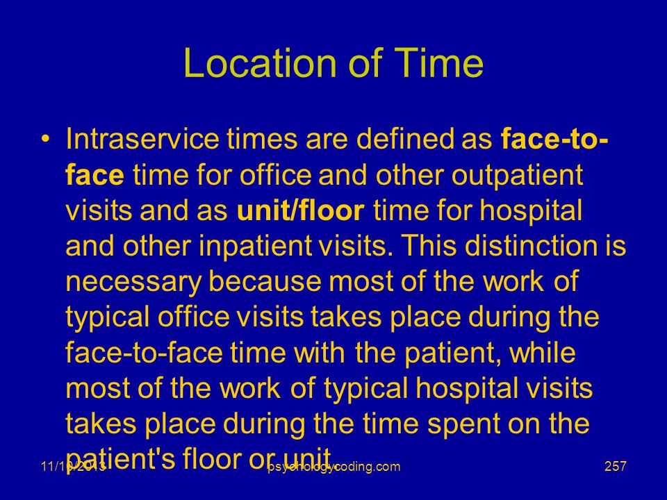 Location of Time Intraservice times are defined as face-to- face time for office and other outpatient visits and as unit/floor time for hospital and o