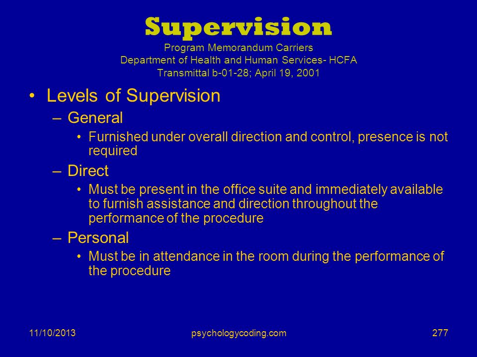 11/10/2013 Supervision Program Memorandum Carriers Department of Health and Human Services- HCFA Transmittal b-01-28; April 19, 2001 Levels of Supervi