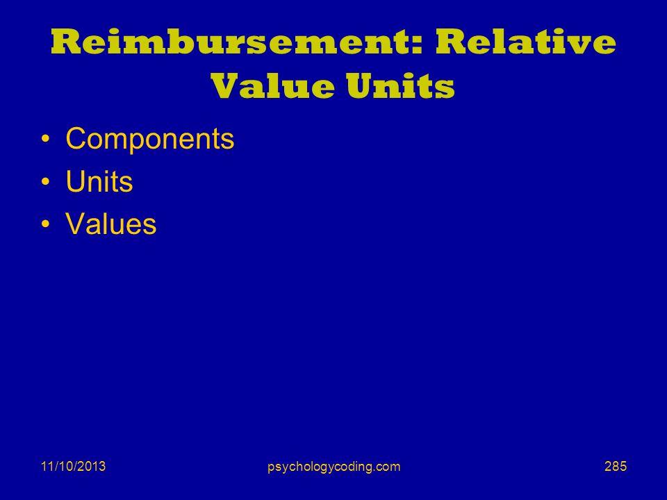 11/10/2013 Reimbursement: Relative Value Units Components Units Values 285psychologycoding.com