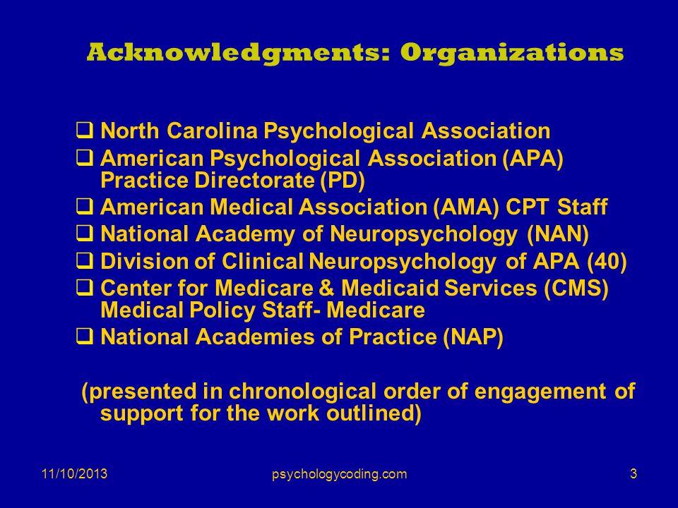11/10/2013 Acknowledgments: Organizations North Carolina Psychological Association American Psychological Association (APA) Practice Directorate (PD)