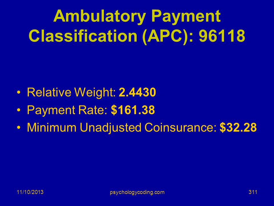 Ambulatory Payment Classification (APC): 96118 Relative Weight: 2.4430 Payment Rate: $161.38 Minimum Unadjusted Coinsurance: $32.28 11/10/2013311psych