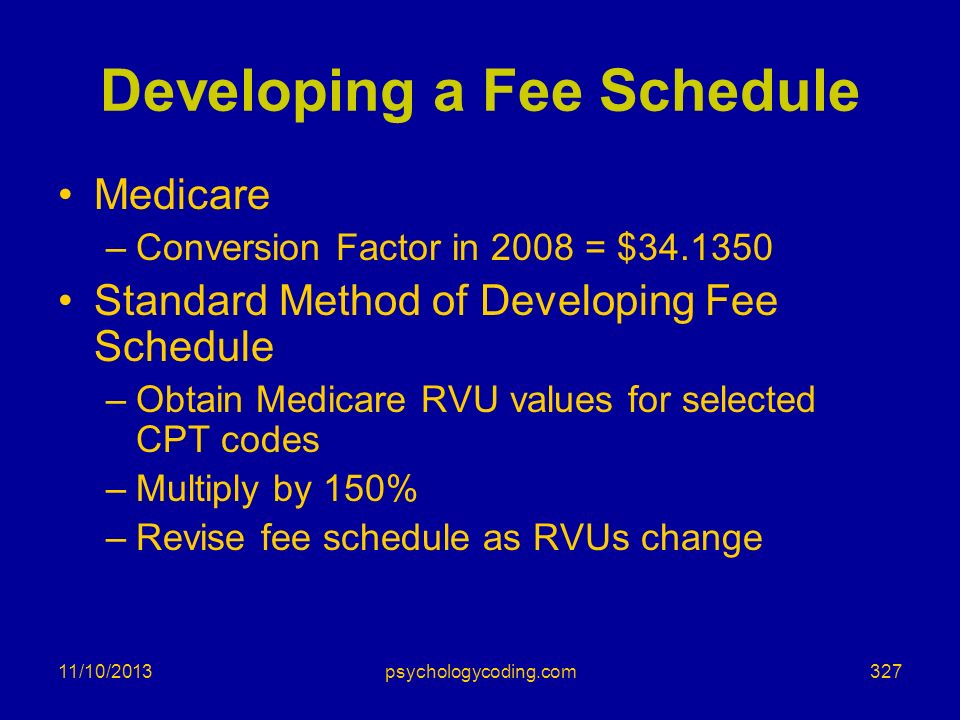 11/10/2013 Developing a Fee Schedule Medicare –Conversion Factor in 2008 = $34.1350 Standard Method of Developing Fee Schedule –Obtain Medicare RVU va