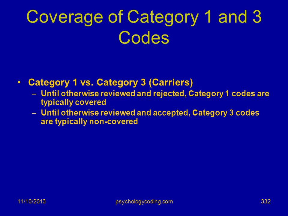 Coverage of Category 1 and 3 Codes Category 1 vs. Category 3 (Carriers) –Until otherwise reviewed and rejected, Category 1 codes are typically covered