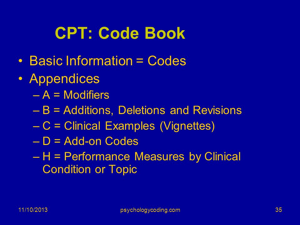 11/10/2013 CPT: Code Book Basic Information = Codes Appendices –A = Modifiers –B = Additions, Deletions and Revisions –C = Clinical Examples (Vignette