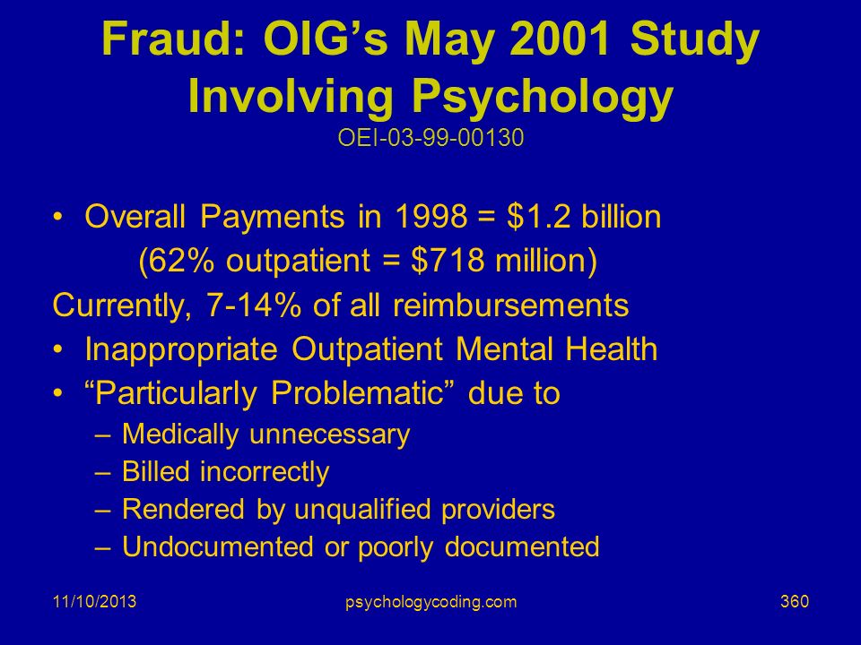 11/10/2013 Fraud: OIGs May 2001 Study Involving Psychology OEI-03-99-00130 Overall Payments in 1998 = $1.2 billion (62% outpatient = $718 million) Cur