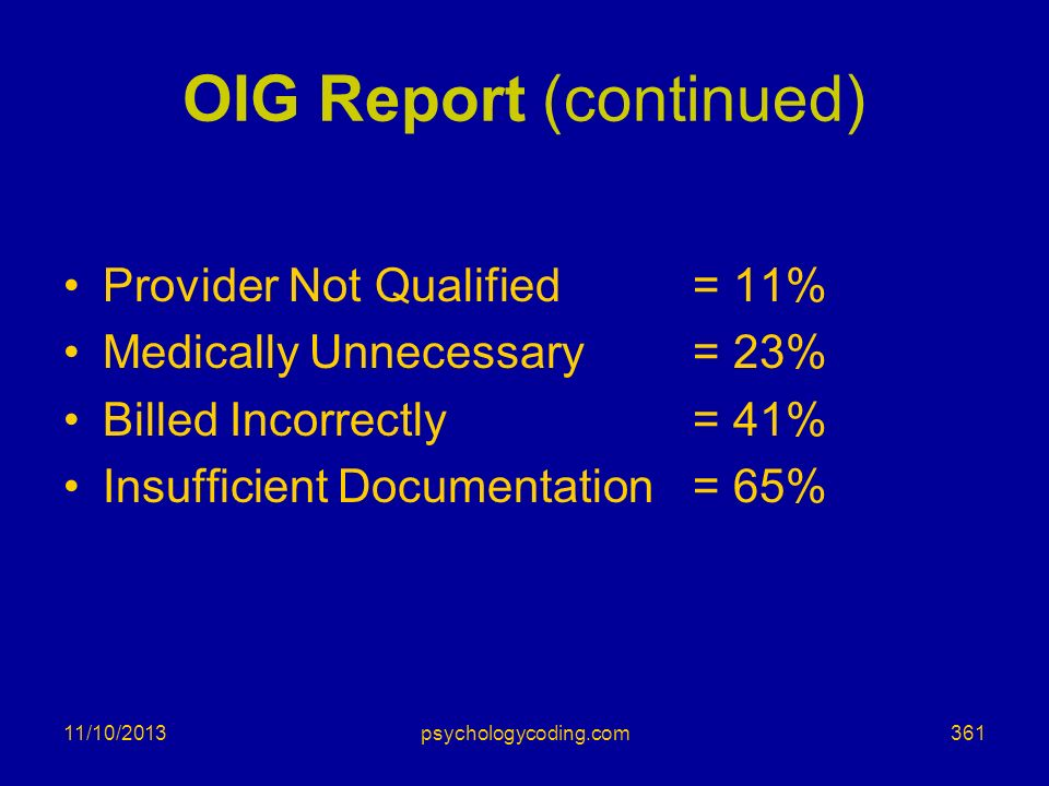 11/10/2013 OIG Report (continued) Provider Not Qualified= 11% Medically Unnecessary = 23% Billed Incorrectly= 41% Insufficient Documentation= 65% 361p