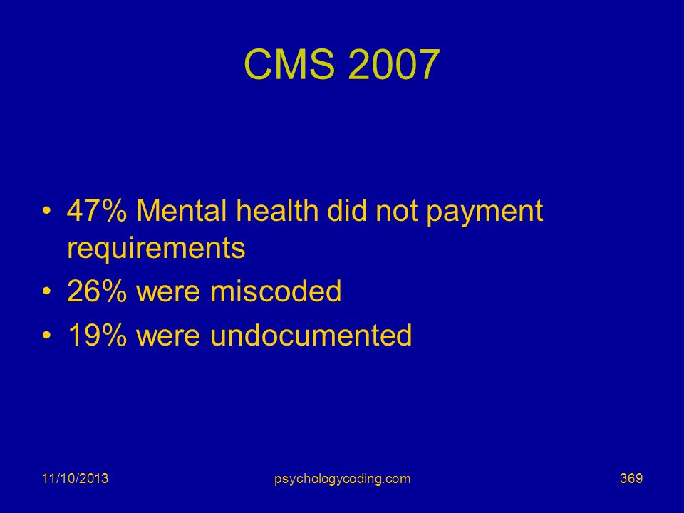 CMS 2007 47% Mental health did not payment requirements 26% were miscoded 19% were undocumented 11/10/2013369psychologycoding.com