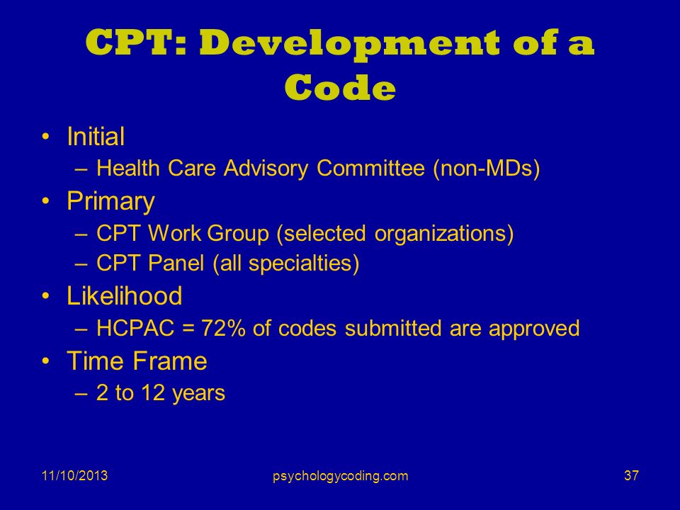 11/10/2013 CPT: Development of a Code Initial –Health Care Advisory Committee (non-MDs) Primary –CPT Work Group (selected organizations) –CPT Panel (a