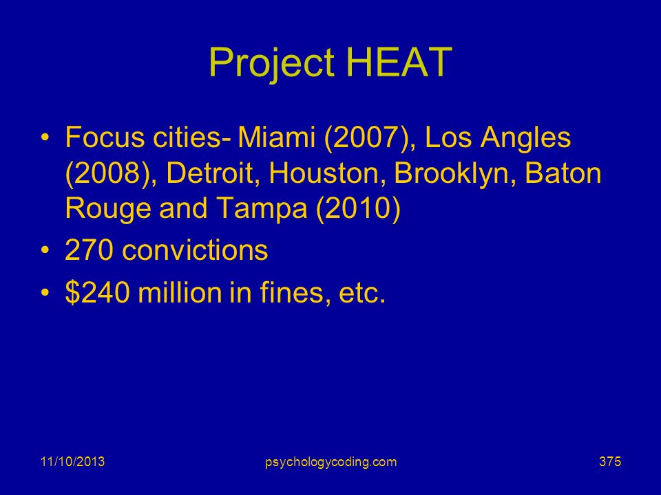Project HEAT Focus cities- Miami (2007), Los Angles (2008), Detroit, Houston, Brooklyn, Baton Rouge and Tampa (2010) 270 convictions $240 million in f