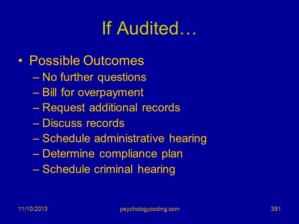 11/10/2013 If Audited… Possible Outcomes –No further questions –Bill for overpayment –Request additional records –Discuss records –Schedule administra