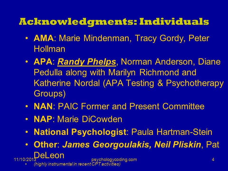 Acknowledgments: Individuals AMA: Marie Mindenman, Tracy Gordy, Peter Hollman APA: Randy Phelps, Norman Anderson, Diane Pedulla along with Marilyn Ric