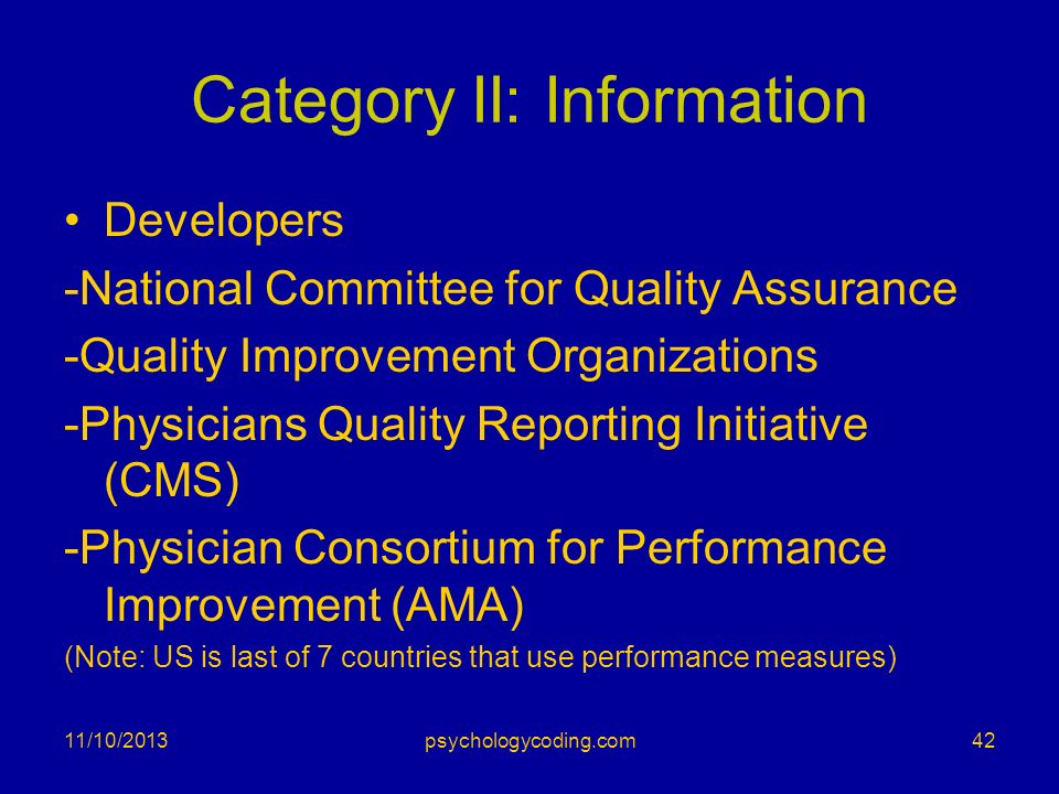 Category II: Information Developers -National Committee for Quality Assurance -Quality Improvement Organizations -Physicians Quality Reporting Initiat