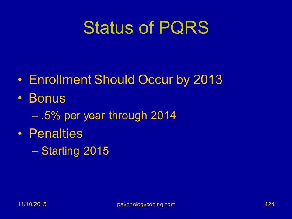 Status of PQRS Enrollment Should Occur by 2013 Bonus –.5% per year through 2014 Penalties –Starting 2015 11/10/2013424psychologycoding.com