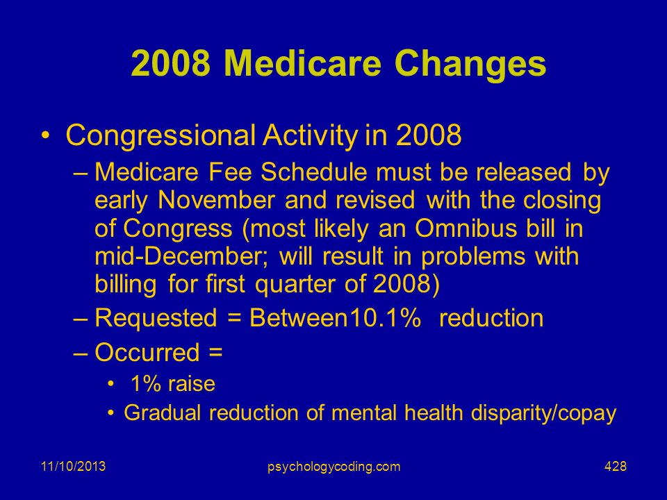 11/10/2013 2008 Medicare Changes Congressional Activity in 2008 –Medicare Fee Schedule must be released by early November and revised with the closing