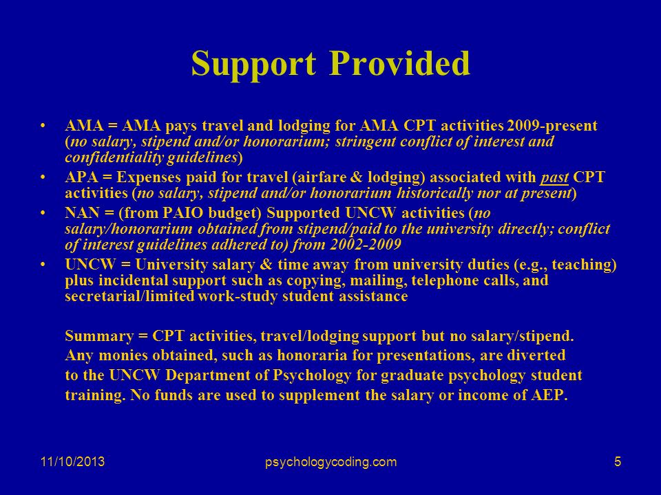 11/10/2013 Support Provided AMA = AMA pays travel and lodging for AMA CPT activities 2009-present (no salary, stipend and/or honorarium; stringent con