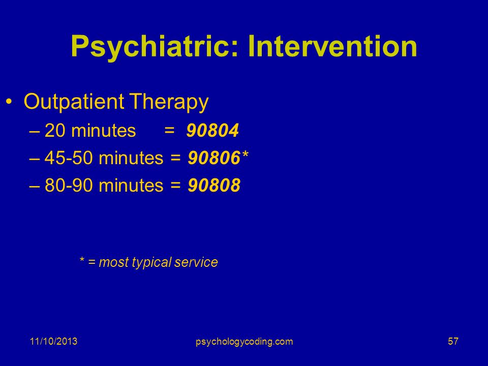 11/10/2013 Psychiatric: Intervention Outpatient Therapy –20 minutes = 90804 –45-50 minutes = 90806* –80-90 minutes = 90808 * = most typical service 57