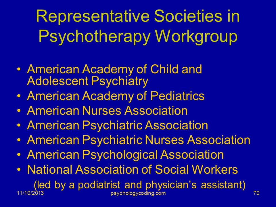 Representative Societies in Psychotherapy Workgroup American Academy of Child and Adolescent Psychiatry American Academy of Pediatrics American Nurses