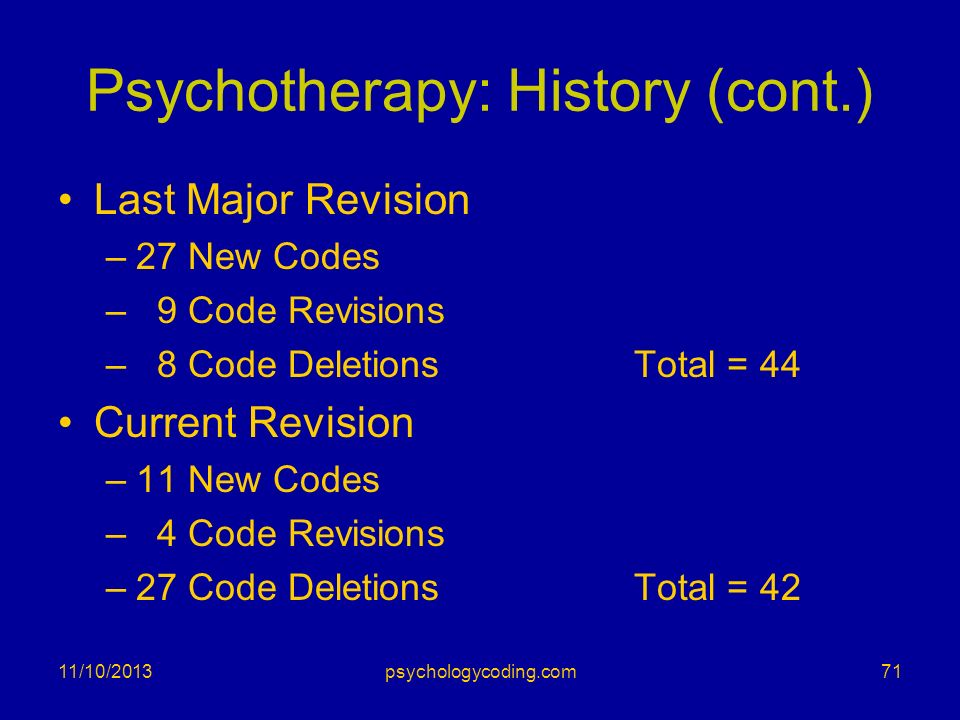 Psychotherapy: History (cont.) Last Major Revision –27 New Codes – 9 Code Revisions – 8 Code DeletionsTotal = 44 Current Revision –11 New Codes – 4 Co