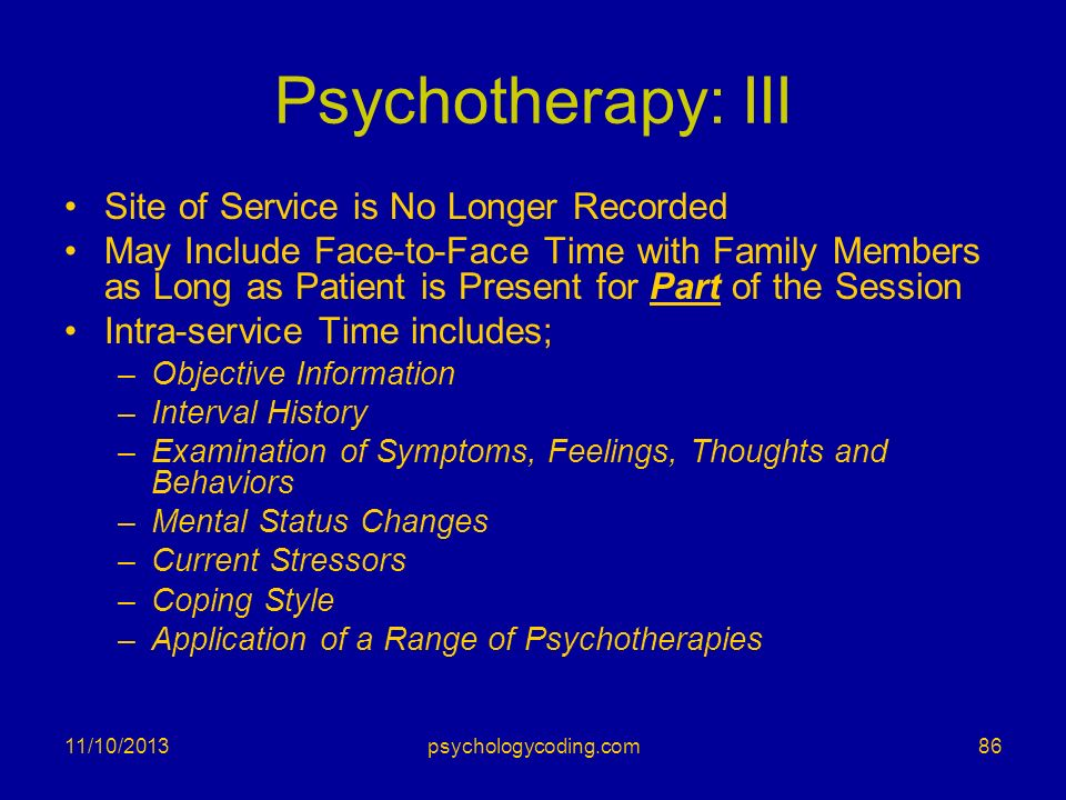 Psychotherapy: III Site of Service is No Longer Recorded May Include Face-to-Face Time with Family Members as Long as Patient is Present for Part of t