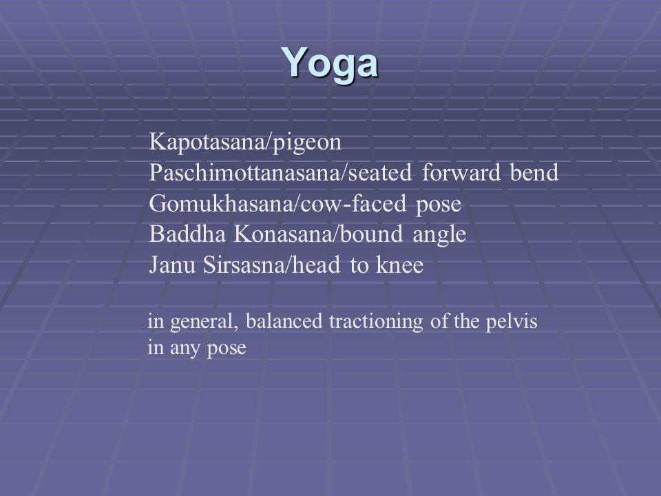 Yoga Kapotasana/pigeon Paschimottanasana/seated forward bend Gomukhasana/cow-faced pose Baddha Konasana/bound angle Janu Sirsasna/head to knee in gene