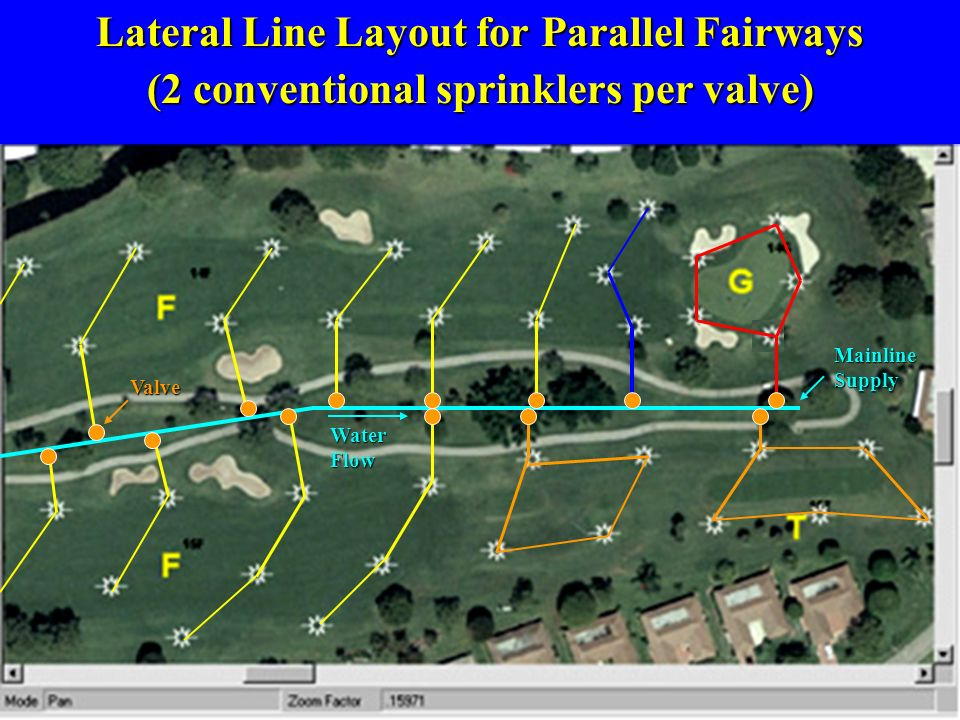 Lateral Line Layout for Parallel Fairways (2 conventional sprinklers per valve) Mainline Supply Water Flow Valve