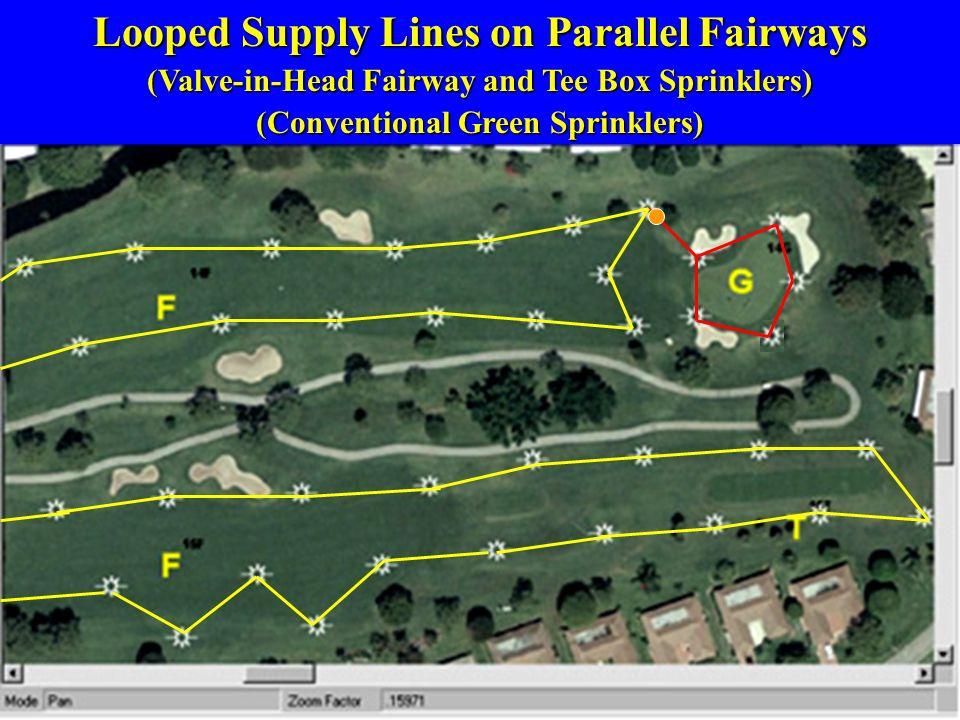 Looped Supply Lines on Parallel Fairways (Valve-in-Head Fairway and Tee Box Sprinklers) (Conventional Green Sprinklers)