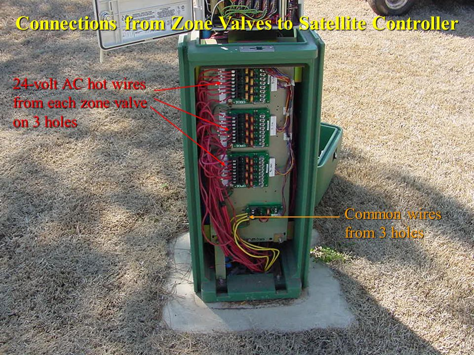Connections from Zone Valves to Satellite Controller Common wires from 3 holes 24-volt AC hot wires from each zone valve on 3 holes