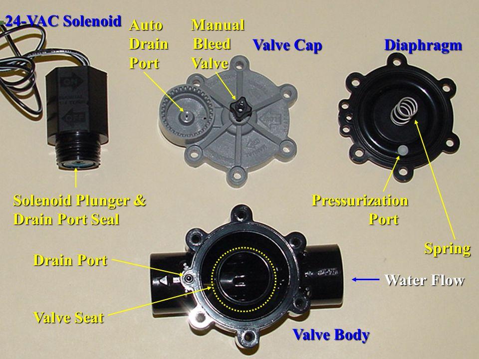Pressurization Port Spring Spring Valve Body 24-VAC Solenoid Drain Port Valve Seat Valve Cap Diaphragm Auto Manual Drain Bleed Port Valve Solenoid Plu