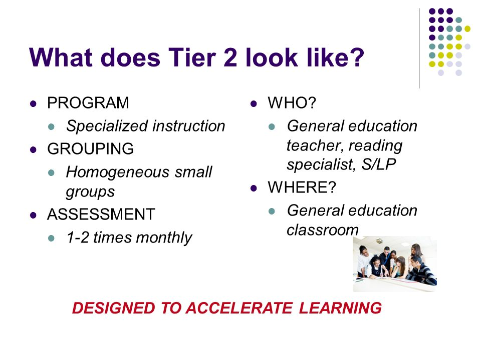 What does Tier 2 look like? PROGRAM Specialized instruction GROUPING Homogeneous small groups ASSESSMENT 1-2 times monthly WHO? General education teac