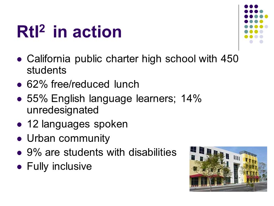 RtI 2 in action California public charter high school with 450 students 62% free/reduced lunch 55% English language learners; 14% unredesignated 12 la
