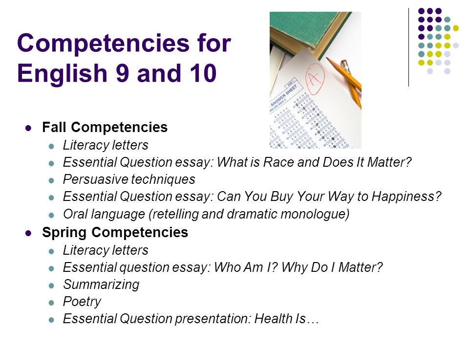 Competencies for English 9 and 10 Fall Competencies Literacy letters Essential Question essay: What is Race and Does It Matter? Persuasive techniques