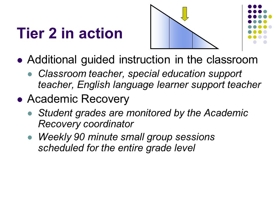 Tier 2 in action Additional guided instruction in the classroom Classroom teacher, special education support teacher, English language learner support