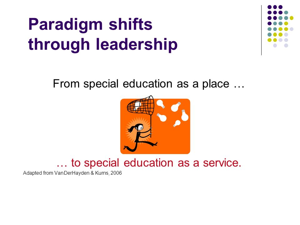 Paradigm shifts through leadership From special education as a place … … to special education as a service. Adapted from VanDerHayden & Kurns, 2006