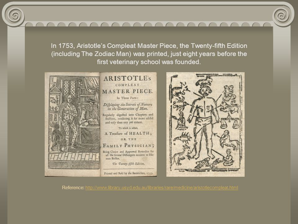 In 1753, Aristotles Compleat Master Piece, the Twenty-fifth Edition (including The Zodiac Man) was printed, just eight years before the first veterina