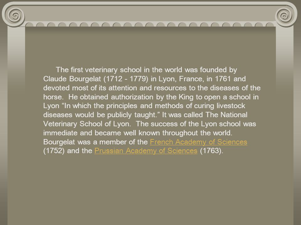 The first veterinary school in the world was founded by Claude Bourgelat (1712 - 1779) in Lyon, France, in 1761 and devoted most of its attention and