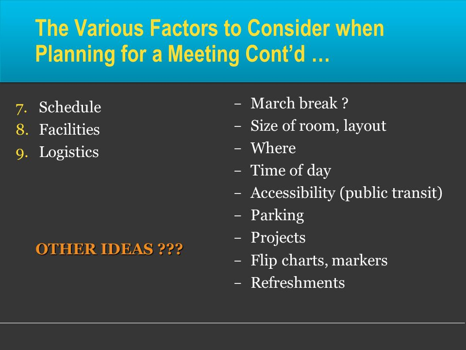 The Various Factors to Consider when Planning for a Meeting Contd … 7.Schedule 8.Facilities 9.Logistics OTHER IDEAS ??? OTHER IDEAS ???  March break
