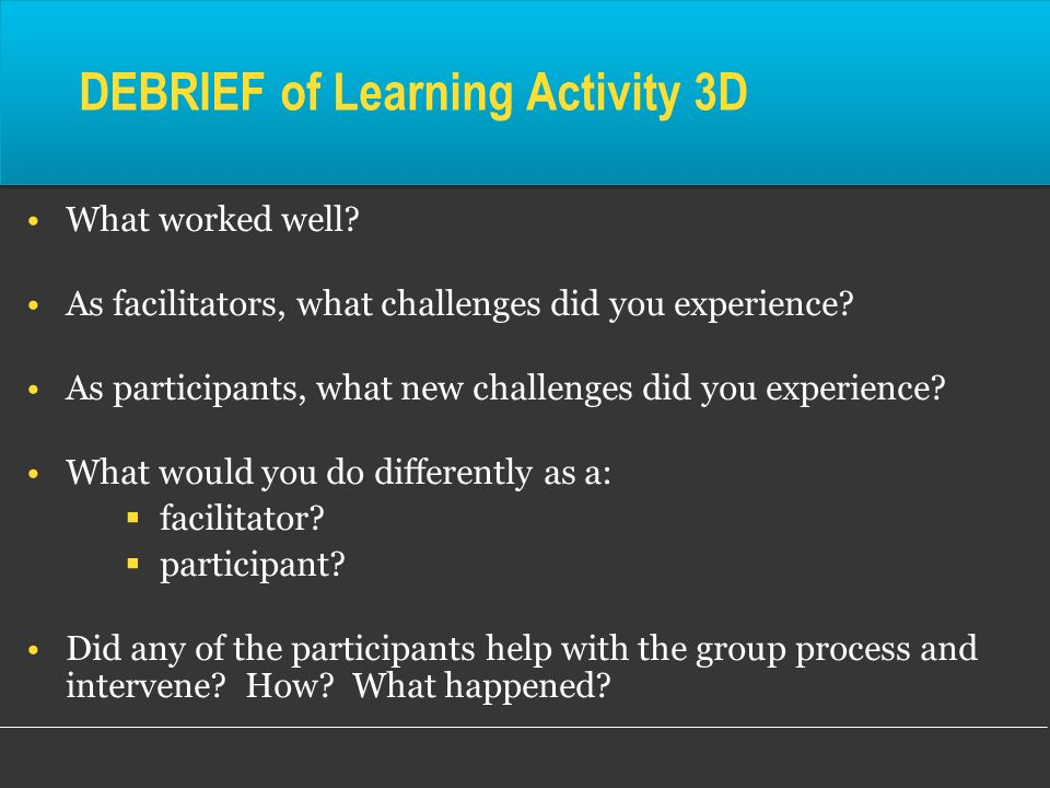 DEBRIEF of Learning Activity 3D What worked well? As facilitators, what challenges did you experience? As participants, what new challenges did you ex