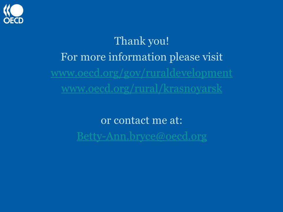 Thank you! For more information please visit www.oecd.org/gov/ruraldevelopment www.oecd.org/rural/krasnoyarsk or contact me at: Betty-Ann.bryce@oecd.o