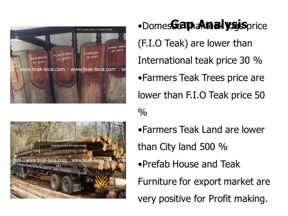 Domestic Thai teak logs price (F.I.O Teak) are lower than International teak price 30 % Farmers Teak Trees price are lower than F.I.O Teak price 50 %