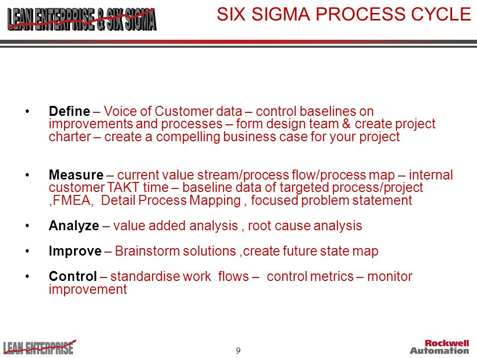 9 SIX SIGMA PROCESS CYCLE Define – Voice of Customer data – control baselines on improvements and processes – form design team & create project charte