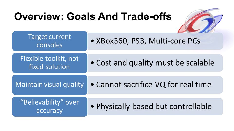 Overview: Goals And Trade-offs XBox360, PS3, Multi-core PCs Target current consoles Cost and quality must be scalable Flexible toolkit, not fixed solu