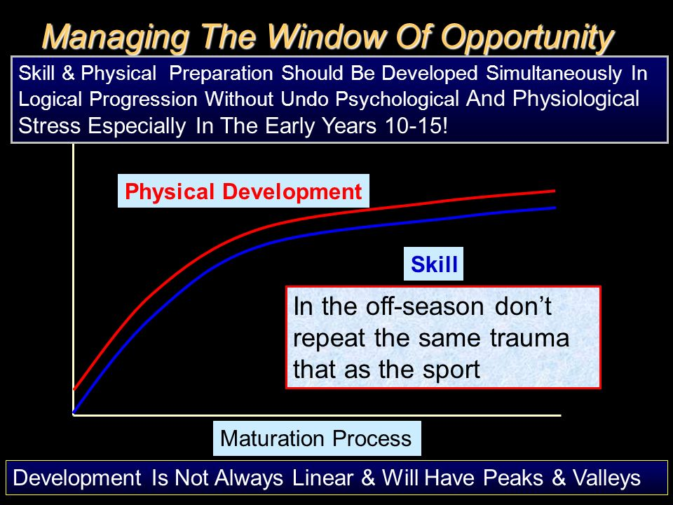 Physical Development Skill Maturation Process Managing The Window Of Opportunity Skill & Physical Preparation Should Be Developed Simultaneously In Lo