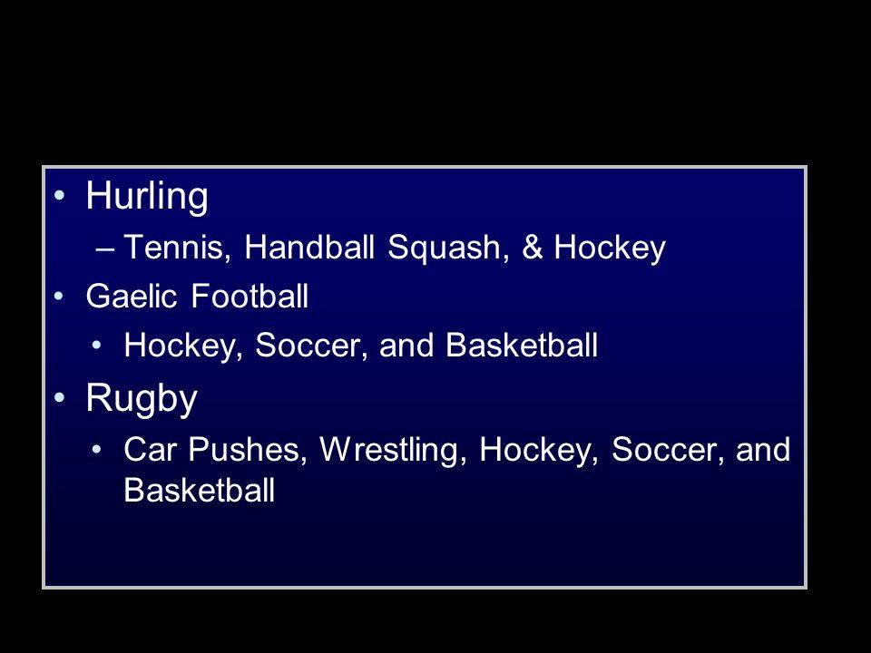 Hurling –Tennis, Handball Squash, & Hockey Gaelic Football Hockey, Soccer, and Basketball Rugby Car Pushes, Wrestling, Hockey, Soccer, and Basketball