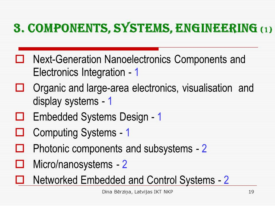Dina Bērziņa, Latvijas IKT NKP19 3. Components, systems, engineering (1) Next-Generation Nanoelectronics Components and Electronics Integration - 1 Or