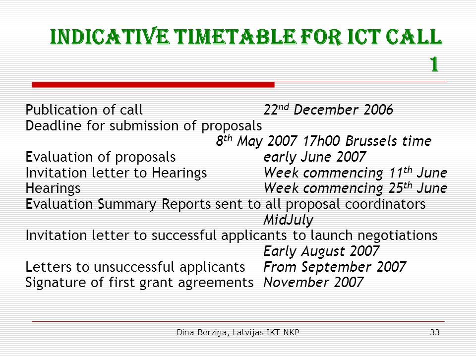 Dina Bērziņa, Latvijas IKT NKP33 Indicative timetable for ICT Call 1 Publication of call22 nd December 2006 Deadline for submission of proposals 8 th May 2007 17h00 Brussels time Evaluation of proposalsearly June 2007 Invitation letter to HearingsWeek commencing 11 th June HearingsWeek commencing 25 th June Evaluation Summary Reports sent to all proposal coordinators MidJuly Invitation letter to successful applicants to launch negotiations Early August 2007 Letters to unsuccessful applicantsFrom September 2007 Signature of first grant agreementsNovember 2007