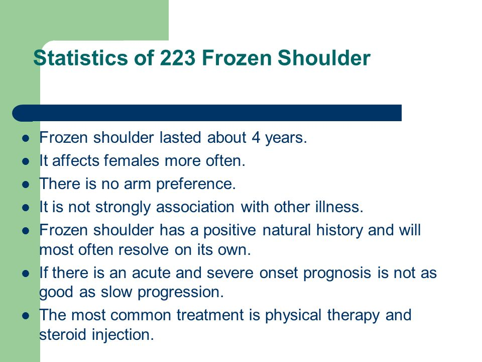 Statistics of 223 Frozen Shoulder Frozen shoulder lasted about 4 years. It affects females more often. There is no arm preference. It is not strongly