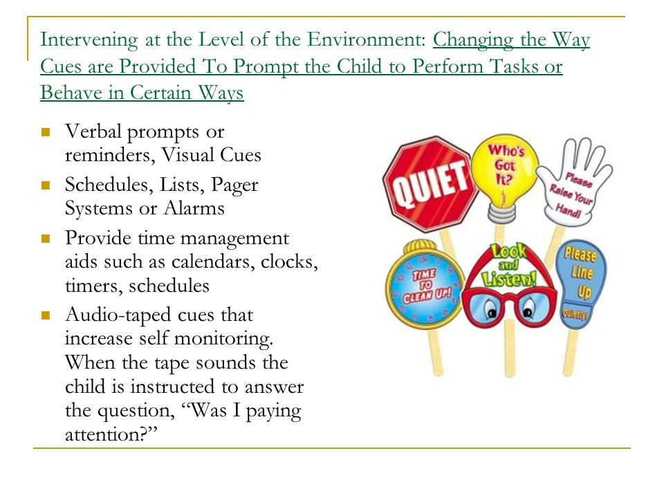 Intervening at the Level of the Environment: Changing the Way Cues are Provided To Prompt the Child to Perform Tasks or Behave in Certain Ways Verbal
