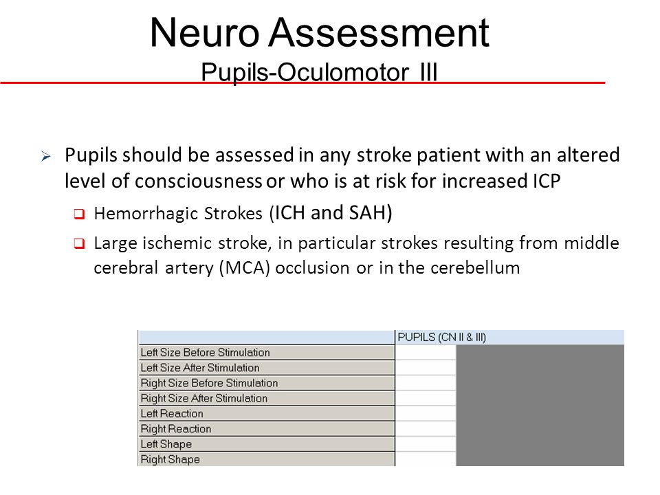 Neuro Assessment Pupils-Oculomotor III Pupils should be assessed in any stroke patient with an altered level of consciousness or who is at risk for in
