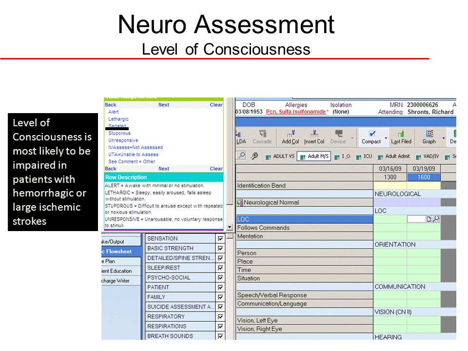 Neuro Assessment Level of Consciousness Level of Consciousness is most likely to be impaired in patients with hemorrhagic or large ischemic strokes