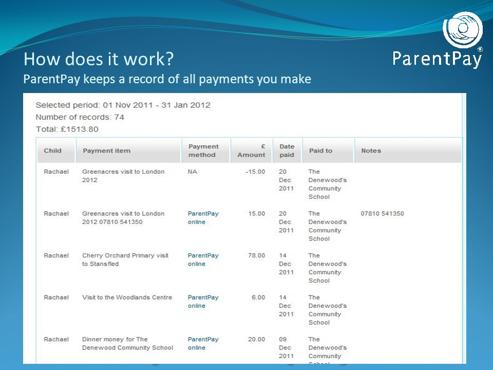 How does it work? ParentPay keeps a record of all payments you make